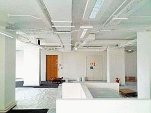 office refit project underway with protective sheeting covering the floor and fresh white painted walls