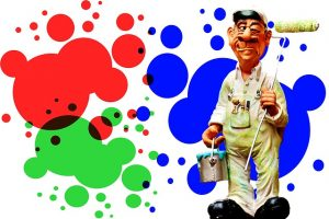 illustration of a cartoon painter holding a roller against a background with splashes of paint