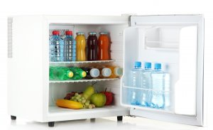 mini office fridge with fruits and water