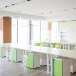 office with green furniture